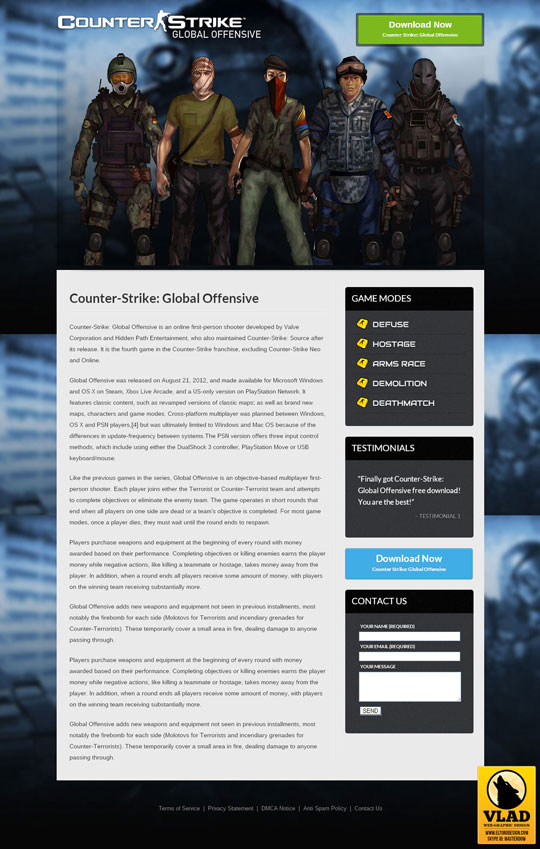Counter Strike Global Offensive - Landing Page