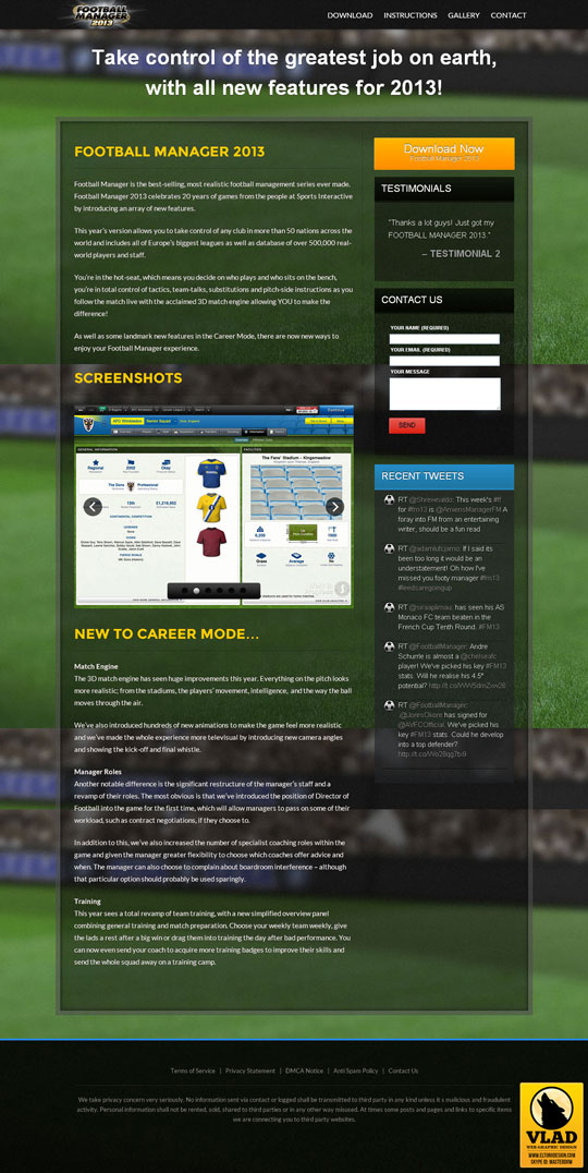 Football Manager 2013 - Landing Page