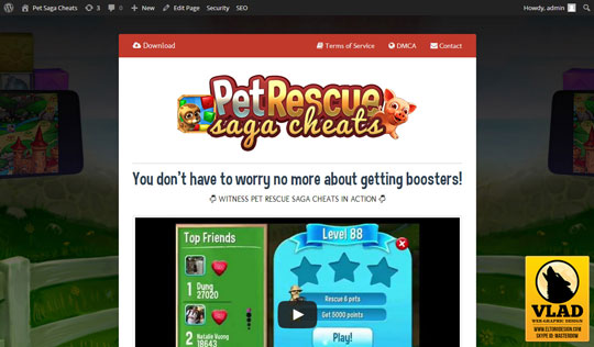 Pet Rescue Saga Cheats - Landing Page