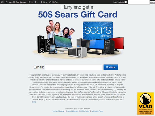 Sears Gift Card - Landing Page